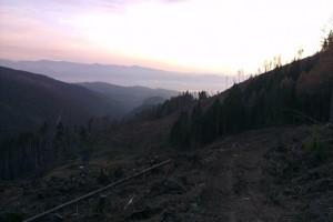 Podvečerný výhľad ponad úvod Suchej doliny
